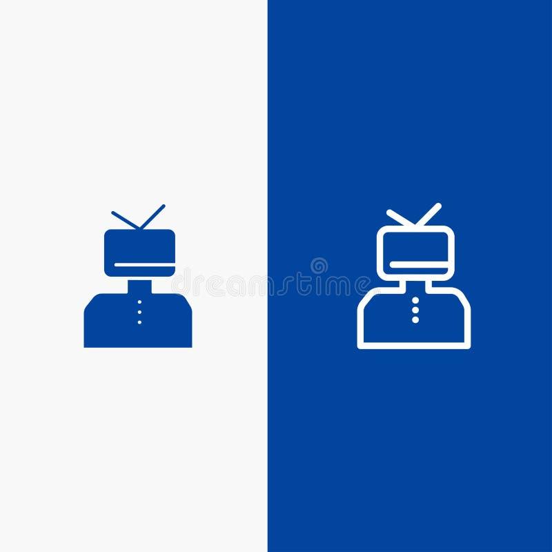 Bannière bleue d'affirmation, d'affirmations, d'estime, heureuse, de personne de ligne et de Glyph d'icône solide de bannière d'i illustration stock