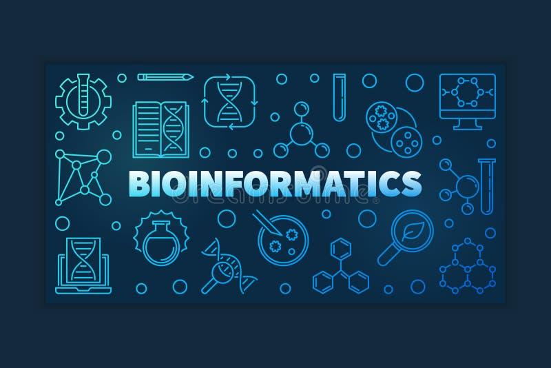 Bannière bleue d'ensemble de bio-informatique Illustration linéaire de vecteur illustration stock