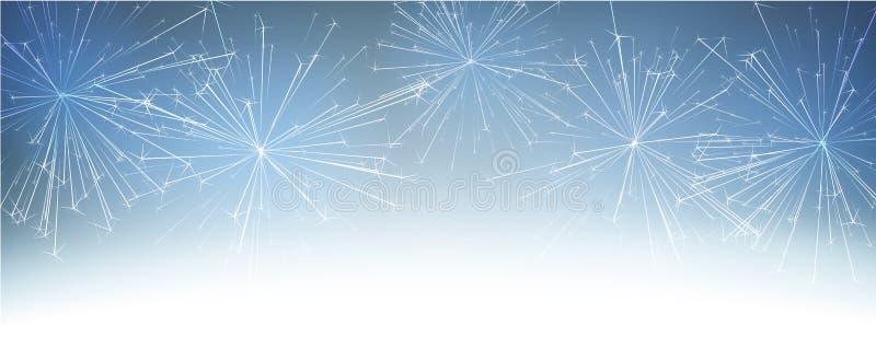Bannière bleue d'hiver avec le feu d'artifice abstrait illustration stock