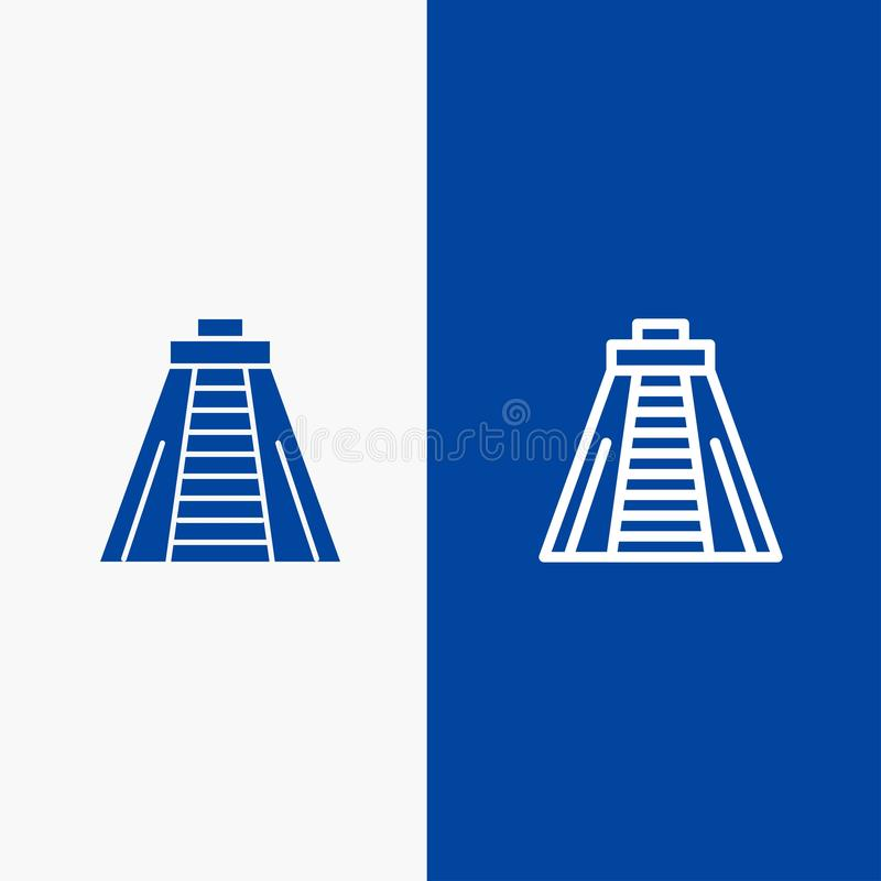 Bannière bleue d'icône solide de Chichen Itza, de point de repère, de ligne de monument et de Glyph illustration stock