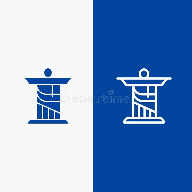 Bannière bleue d'icône solide de Jésus, du Christ, de monument, de ligne de point de repère et de Glyph illustration de vecteur