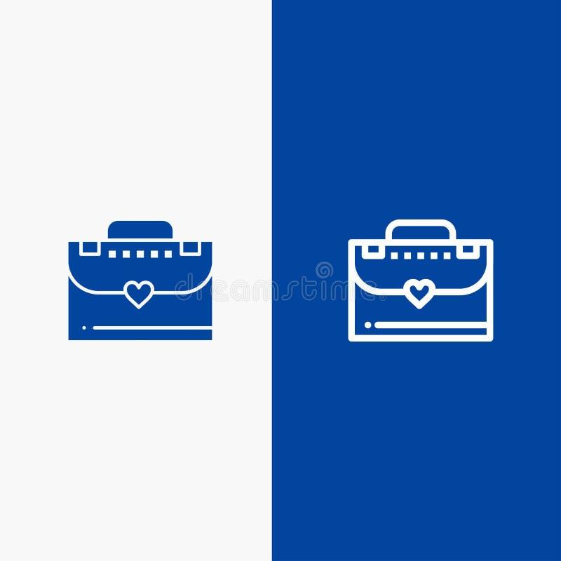 Bannière bleue d'icône solide de sac, de serviette, de ligne d'amour et de Glyph illustration libre de droits