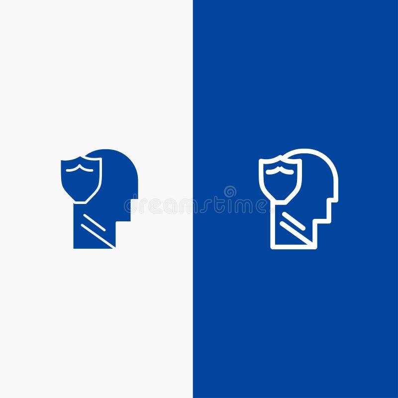 Bannière bleue de bouclier, sûre, masculine, d'utilisateur, de ligne de données et de Glyph d'icône solide de bannière d'icône so illustration libre de droits
