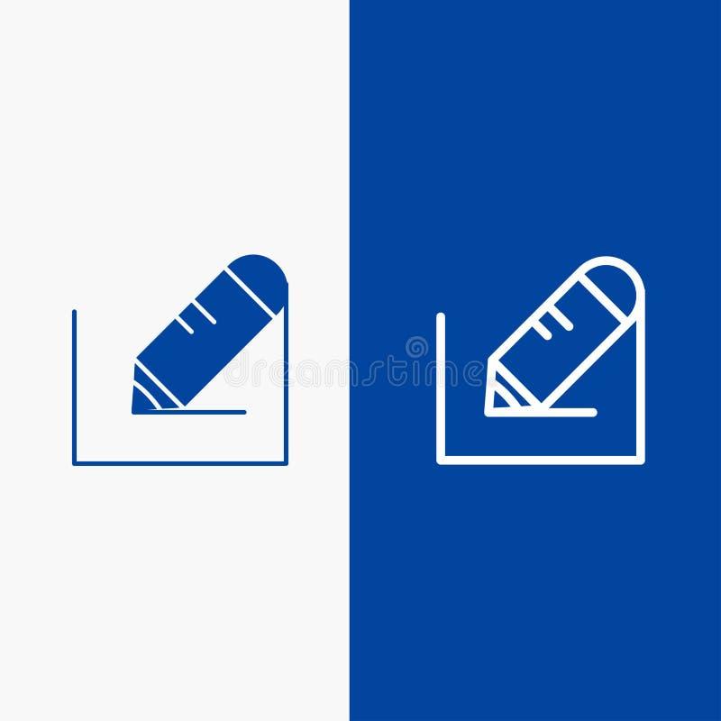 Bannière bleue de bannière crayonnez, écrivez, textotez, instruisez de ligne et de Glyph icône solide d'icône solide bleue de lig illustration de vecteur