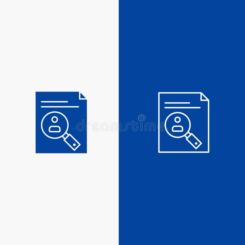 Bannière bleue de bannière d'icône solide d'application, de presse-papiers, de programme d'études, de cv, de résumé, de ligne de  illustration libre de droits