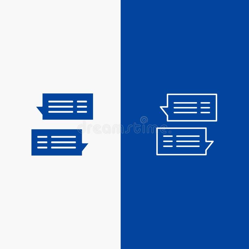 Bannière bleue de bannière d'icône solide de causerie, de bulle, de courrier, de message, de ligne de conversations et de Glyph d illustration libre de droits
