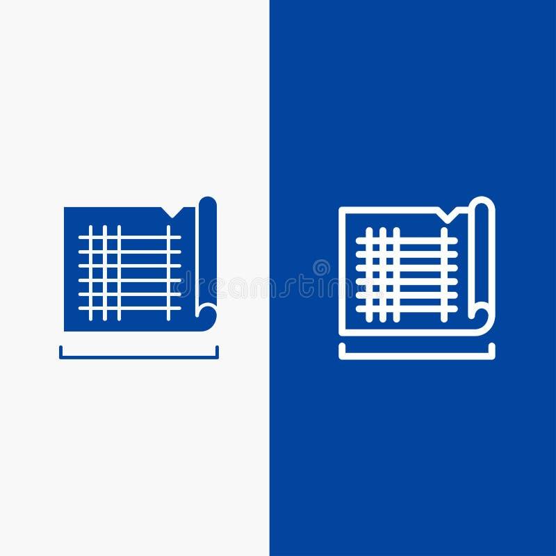 Bannière bleue de bannière d'icône solide de construction, de rédaction, de Chambre, de ligne de carte et de Glyph d'icône solide illustration de vecteur