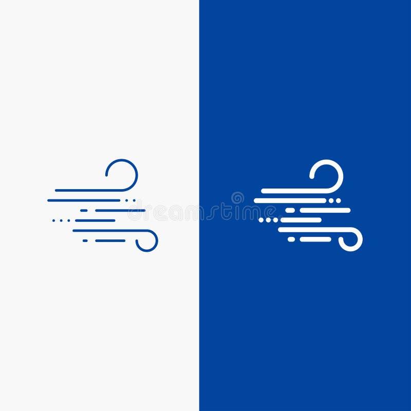 Bannière bleue de bannière d'icône solide de coup, de temps, de vent, de ligne de ressort et de Glyph d'icône solide bleue de lig illustration stock