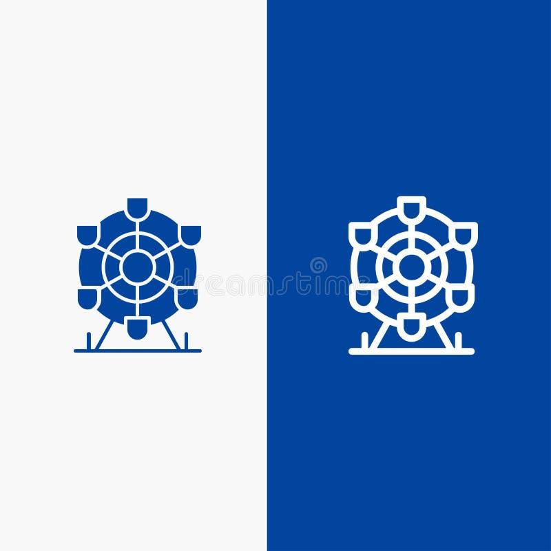 Bannière bleue de bannière d'icône solide de Ferris, de parc, de roue, de ligne du Canada et de Glyph d'icône solide bleue de lig illustration de vecteur