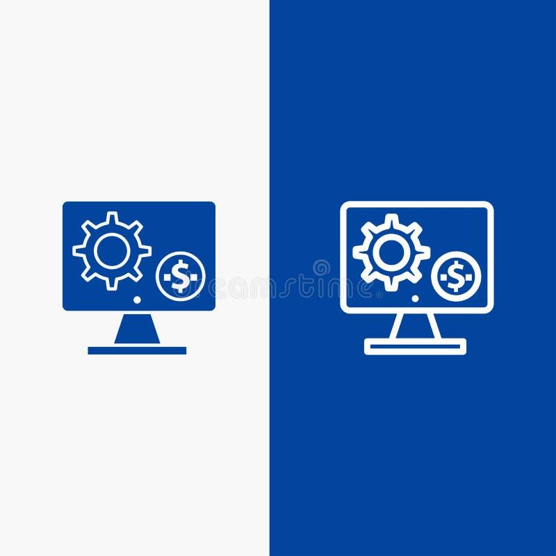 Bannière bleue de bannière d'icône solide de générateur, de moniteur, d'écran, d'arrangement, de vitesse, de ligne d'argent et de illustration stock