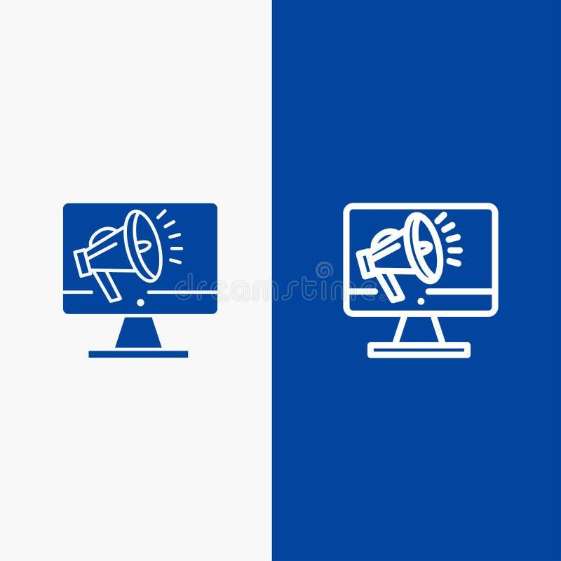 Bannière bleue de bannière d'icône solide de haut-parleur, de grand volume, de haut-parleur, de haut-parleur, de ligne de voix et illustration de vecteur