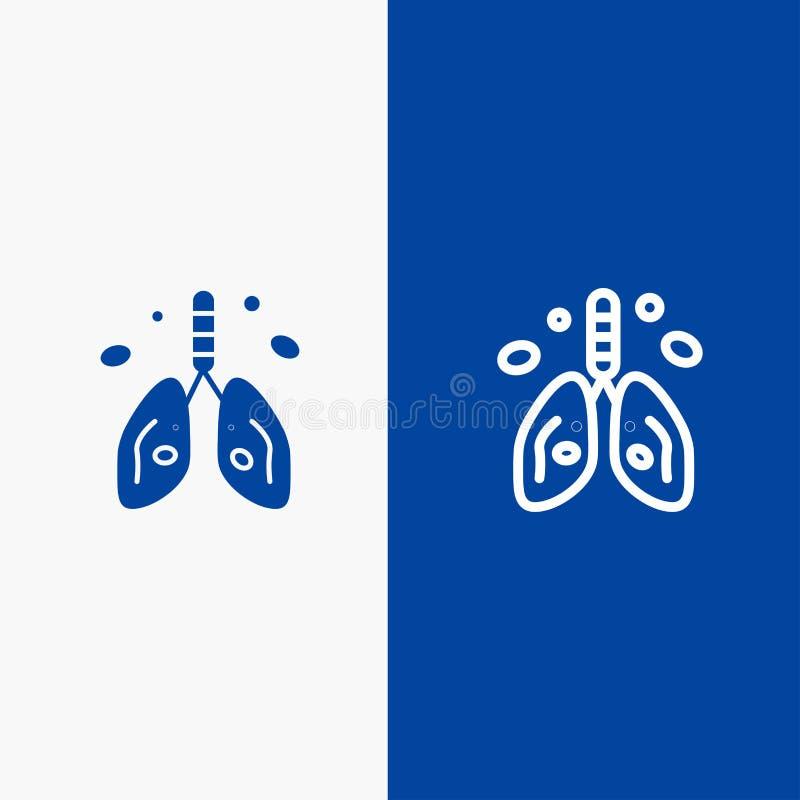 Bannière bleue de bannière d'icône solide de pollution, de Cancer, de coeur, de poumon, de ligne d'organe et de Glyph d'icône sol illustration de vecteur
