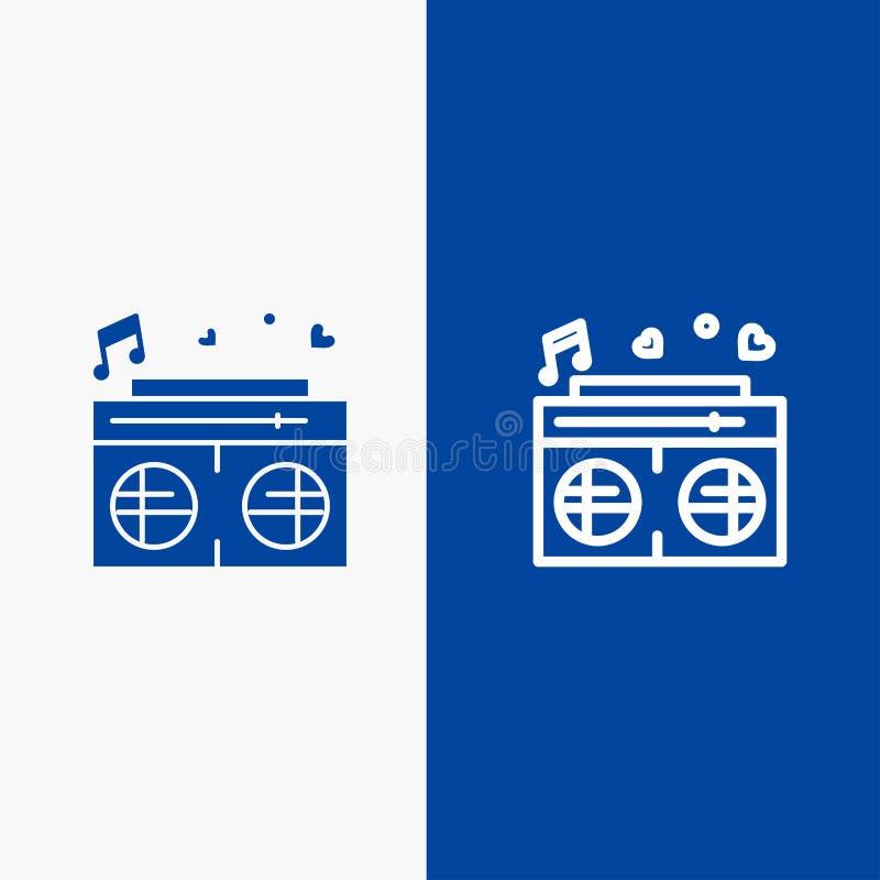 Bannière bleue de bannière d'icône solide de radio, d'amour, de coeur, de ligne de mariage et de Glyph d'icône solide bleue de li illustration libre de droits