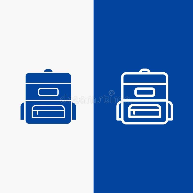 Bannière bleue de bannière d'icône solide de sac, d'éducation, de ligne de cartable et de Glyph d'icône solide bleue de ligne et  illustration libre de droits