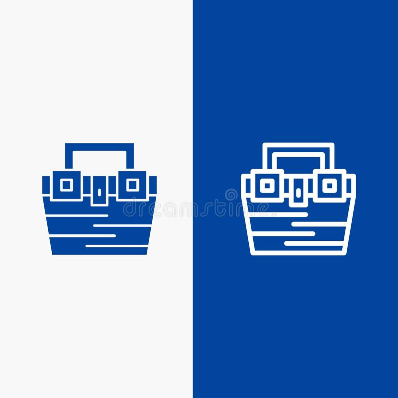 Bannière bleue de bannière d'icône solide de sac, de boîte, de construction, de matériel, de ligne de boîte à outils et de Glyph  illustration de vecteur
