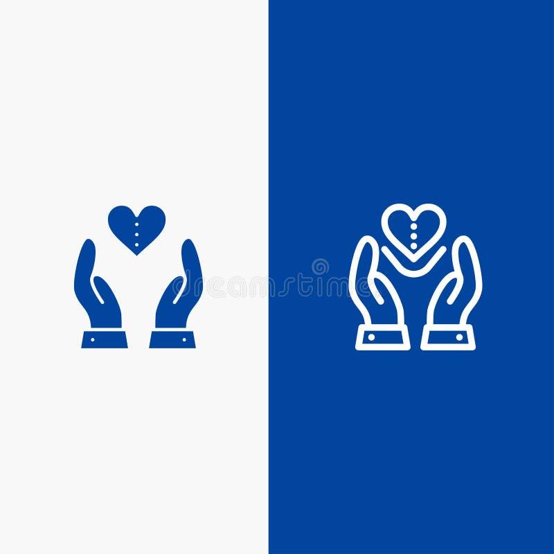 Bannière bleue de bannière d'icône solide de soin, de compassion, de sentiments, de coeur, de ligne d'amour et de Glyph d'icône s illustration stock