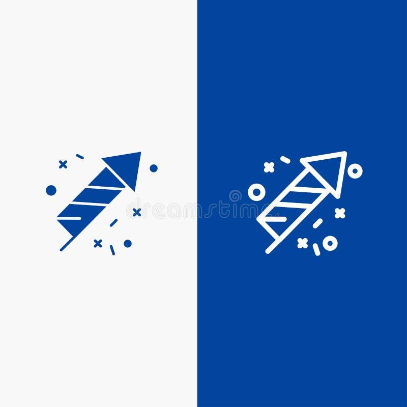 Bannière bleue de bannière d'icône solide de travail du feu, de feu, du Canada, de ligne et de Glyph d'icône solide bleue de lign illustration de vecteur