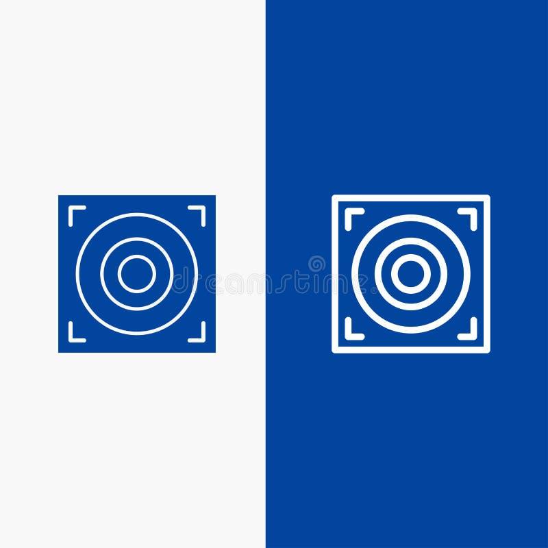 Bannière bleue de bannière d'icône solide de Web, de conception, de ligne de haut-parleur et de Glyph d'icône solide bleue de lig illustration de vecteur