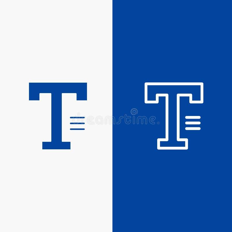 Bannière bleue de bannière dactylographiez, textotez, écrivez, exprimez de ligne et de Glyph icône solide d'icône solide bleue de illustration libre de droits