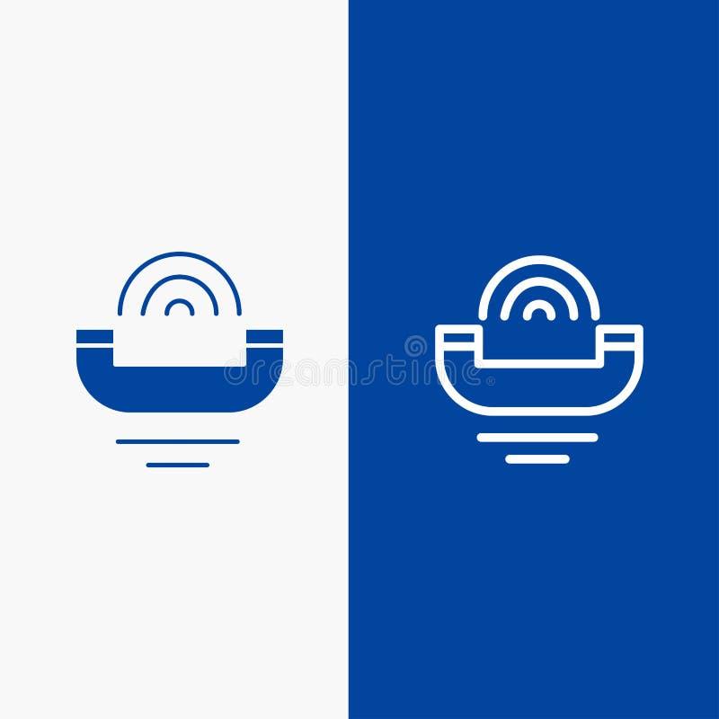Bannière bleue de bannière de ferme icône de dispositif, d'aide, de productivité, de soutien, de ligne téléphonique et de Glyph i illustration de vecteur