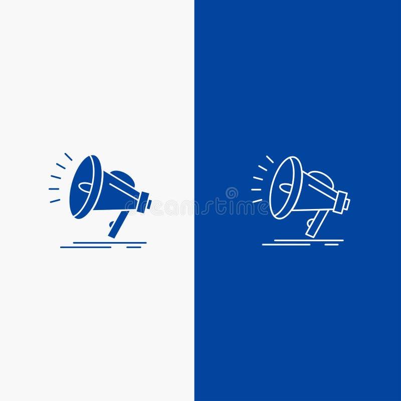 Bannière bleue de haut-parleur, bruyante, audio, de voix de ligne et de Glyph d'icône solide de bannière d'icône solide bleue de  illustration stock