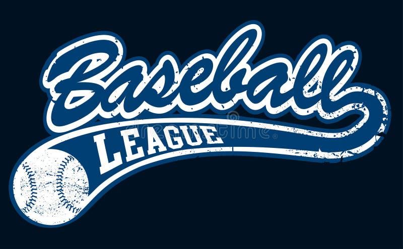 Bannière bleue de ligue de base-ball avec la boule illustration libre de droits