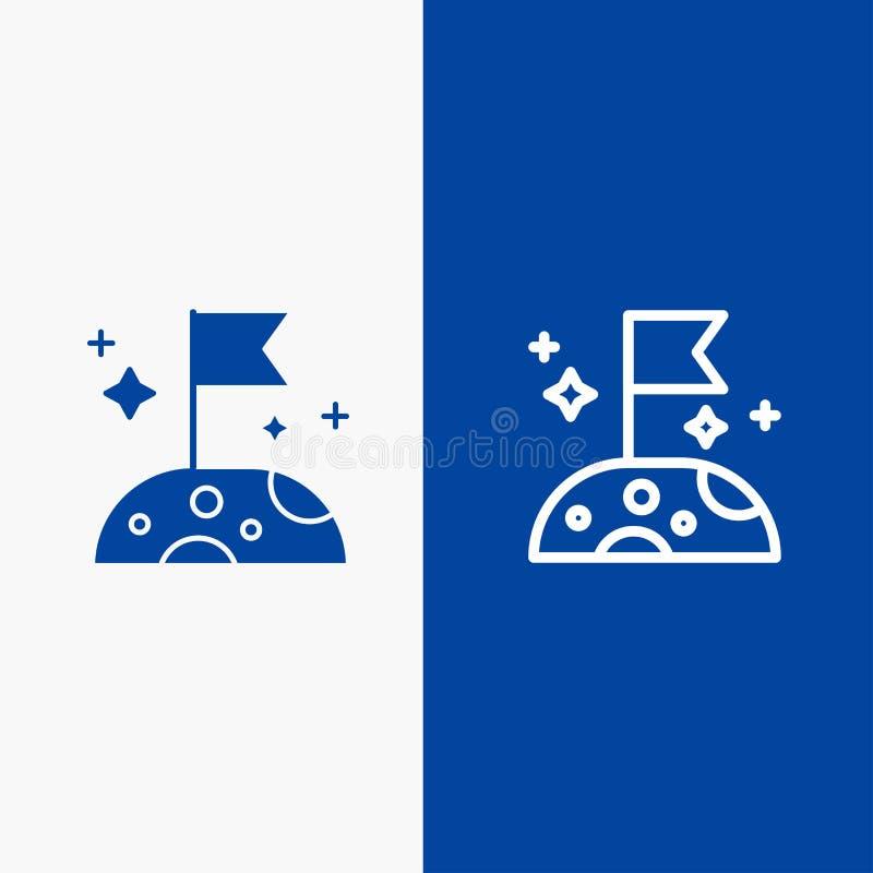 Bannière bleue de lune, lente, d'espace de ligne et de Glyph d'icône solide de bannière d'icône solide bleue de ligne et de Glyph illustration libre de droits