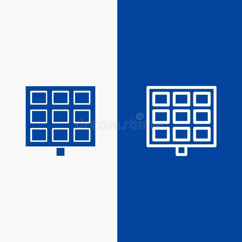 Bannière bleue de panneau, solaire, de construction de ligne et de Glyph d'icône solide de bannière d'icône solide bleue de ligne illustration de vecteur