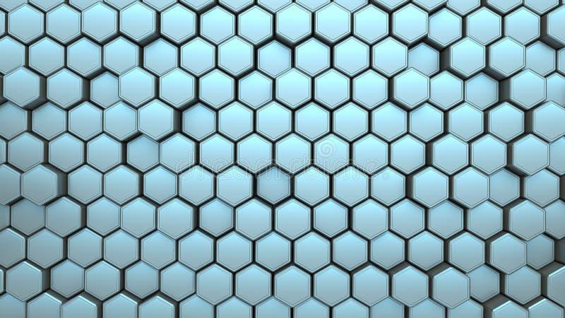 Bannière bleue de structure d'hexagone illustration stock