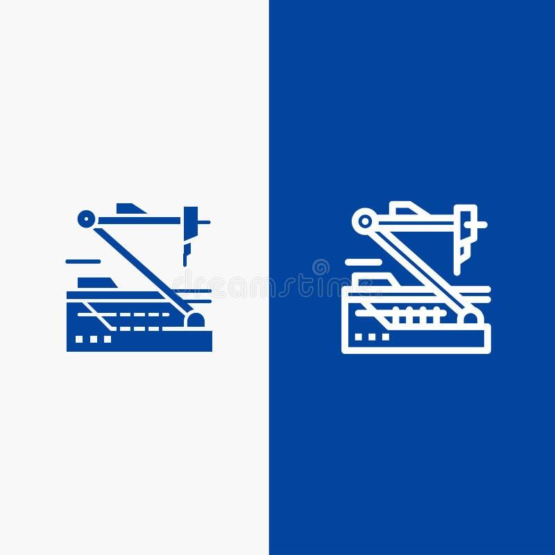 Bannière bleue future, médicale, de médecine, de robot, de ligne de robotique et de Glyph d'icône solide de bannière d'icône soli illustration libre de droits