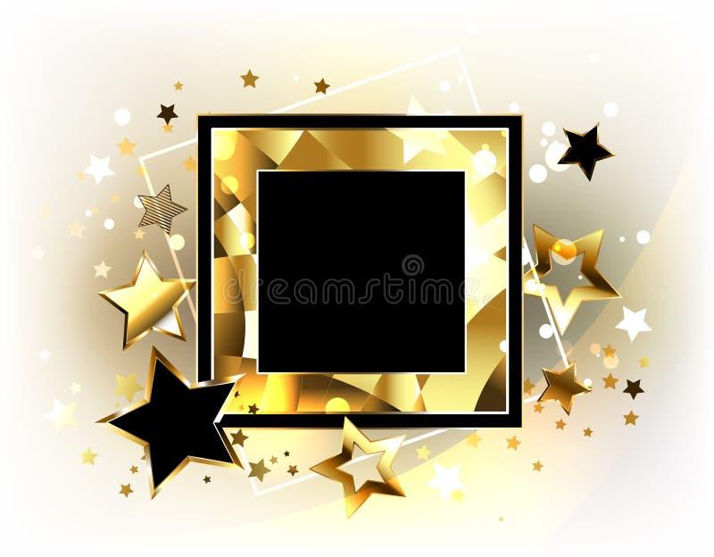 Bannière carrée avec les étoiles d'or illustration libre de droits