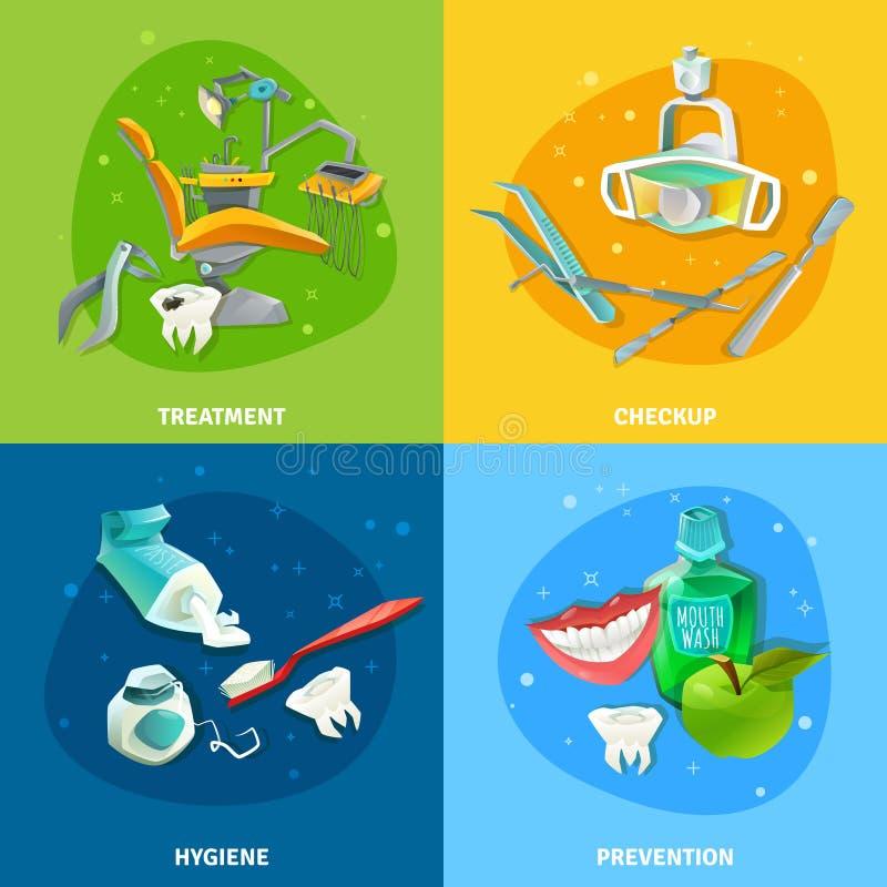 Bannière carrée d'icônes plates du dentiste 4 illustration stock