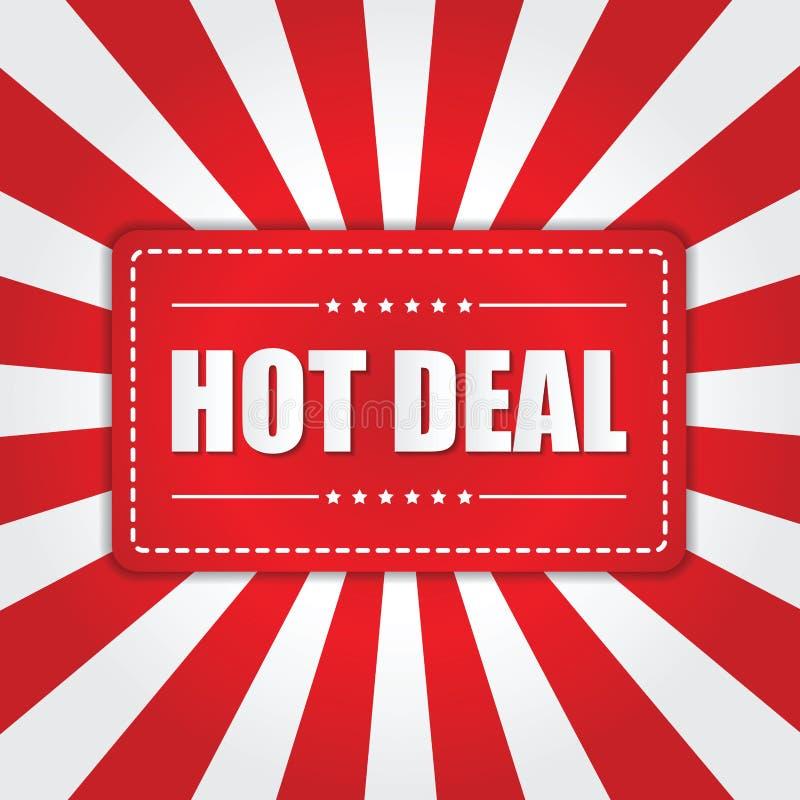 Bannière chaude d'affaire avec l'effet de rayon de soleil sur le fond blanc et rouge illustration libre de droits