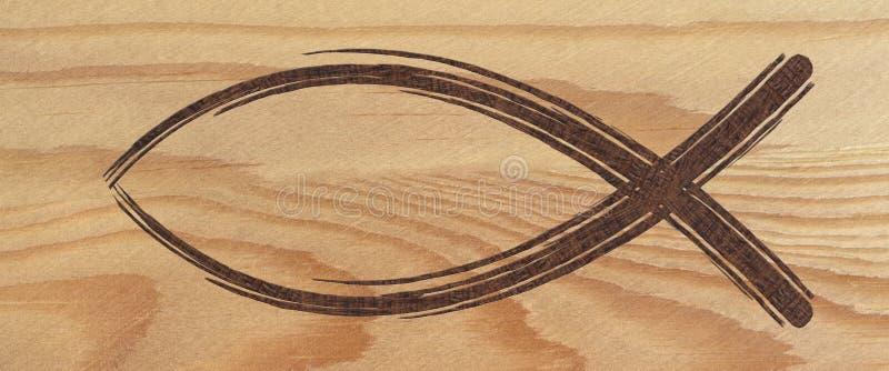 Bannière chrétienne de Web de symbole de poissons sur le bois signe religieux illustration libre de droits