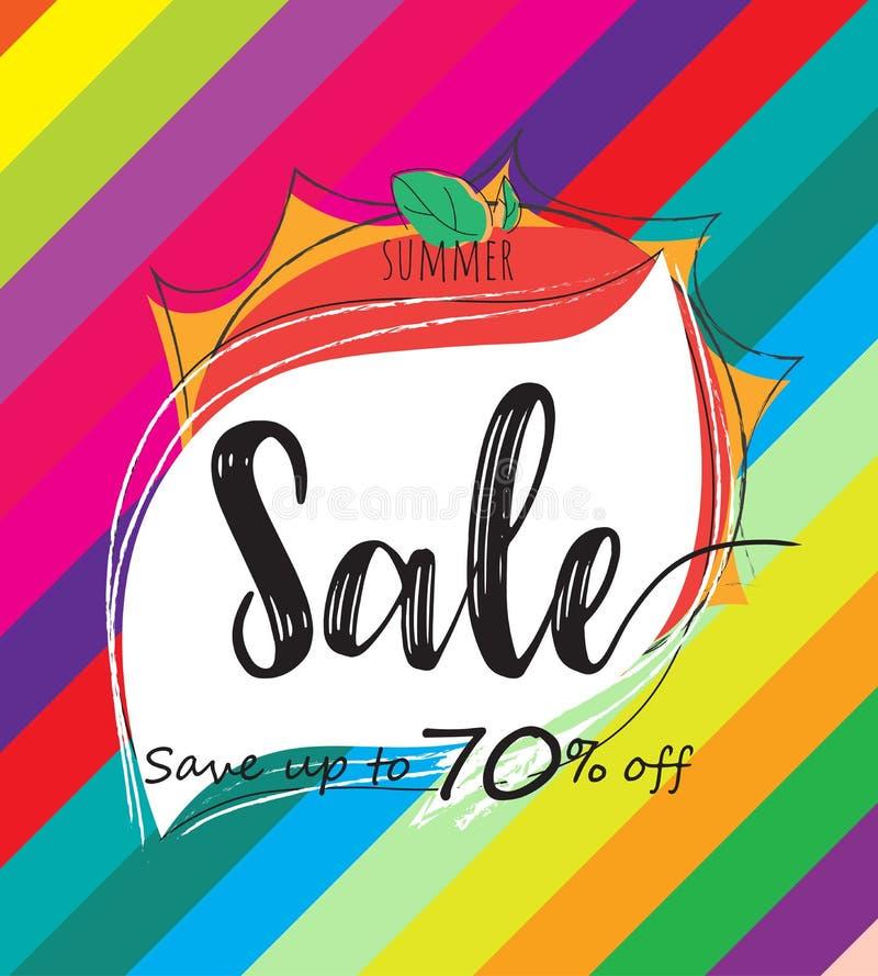 Bannière colorée de calibre de vente d'été, offre spéciale à la remise jusqu'à 70%  illustration stock