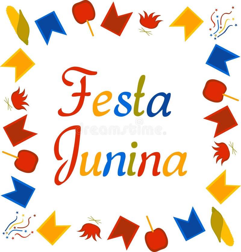 Bannière colorée de place pour Festa Junina Festival du Br?sil juin Texte entouré par des drapeaux, des confettis, le maïs, des p illustration stock