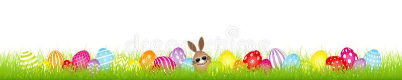 Bannière colorée de pré d'oeufs de Bunny Sunglasses And Twenty Eight pâques d'oeufs de Brown illustration stock