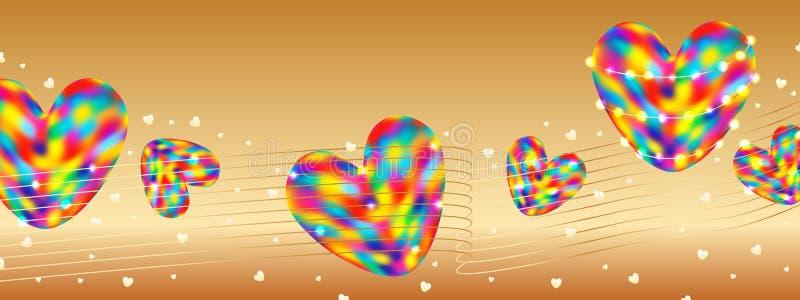 Bannière colorée RVB d'or d'amour illustration stock