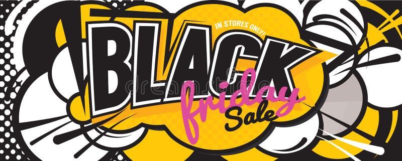 Bannière comique de style de la parole de vente colorée de Black Friday illustration stock