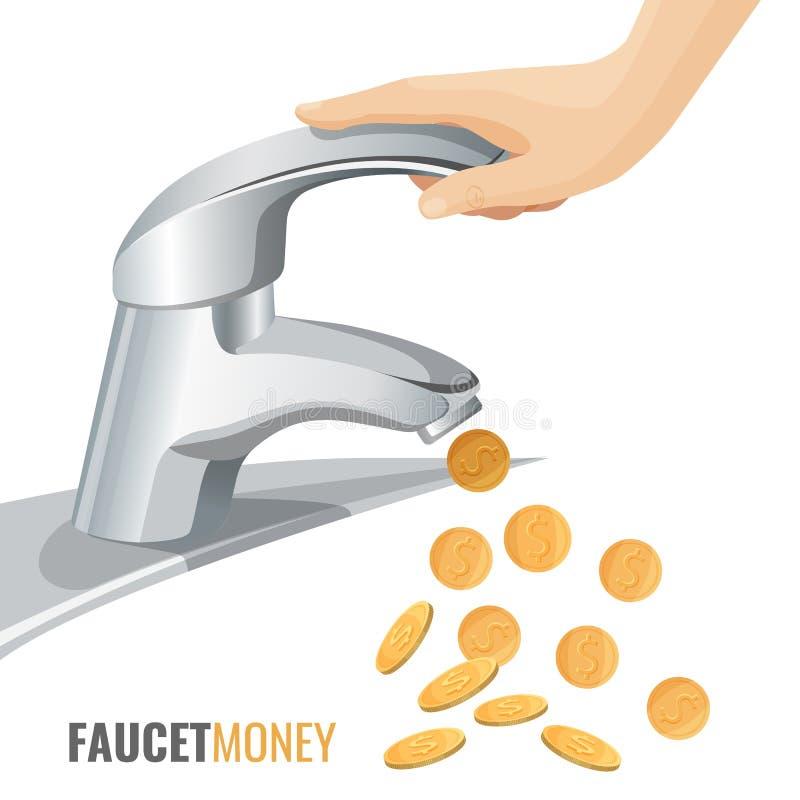 Bannière commerciale d'argent de robinet avec le robinet moderne et les pièces de monnaie d'or illustration libre de droits