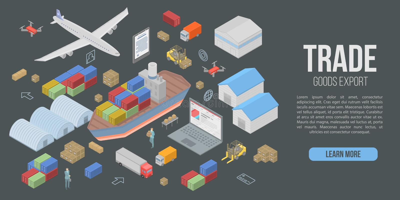 Bannière commerciale de concept d'exportation de marchandises, style isométrique illustration de vecteur