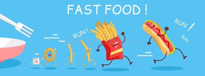 Bannière conceptuelle d'aliments de préparation rapide Repas heureux pour l'enfant illustration libre de droits