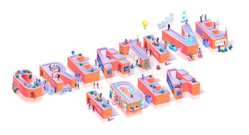 Bannière créative de typographie d'idée d'innovation de vision illustration stock