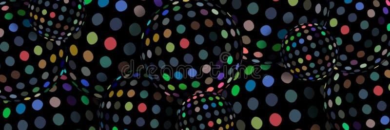 bannière créative de Web des sphères 3d Modèle de mosaïque multicolore sur le fond noir illustration libre de droits