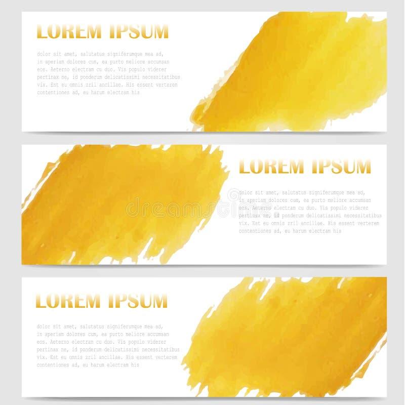 Bannière début abstraite dans l'illustration jaune de conception de couleur d'eau illustration de vecteur