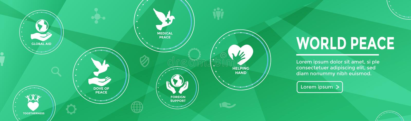 Bannière début de Web de paix du monde avec l'ico de main et de coeur de globe de colombe illustration stock