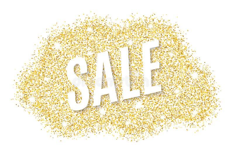 Bannière d'or à vendre des scintillements d'or Tache d'or d'isolement sur le fond blanc Fond pour votre projet Illustration de ve illustration stock