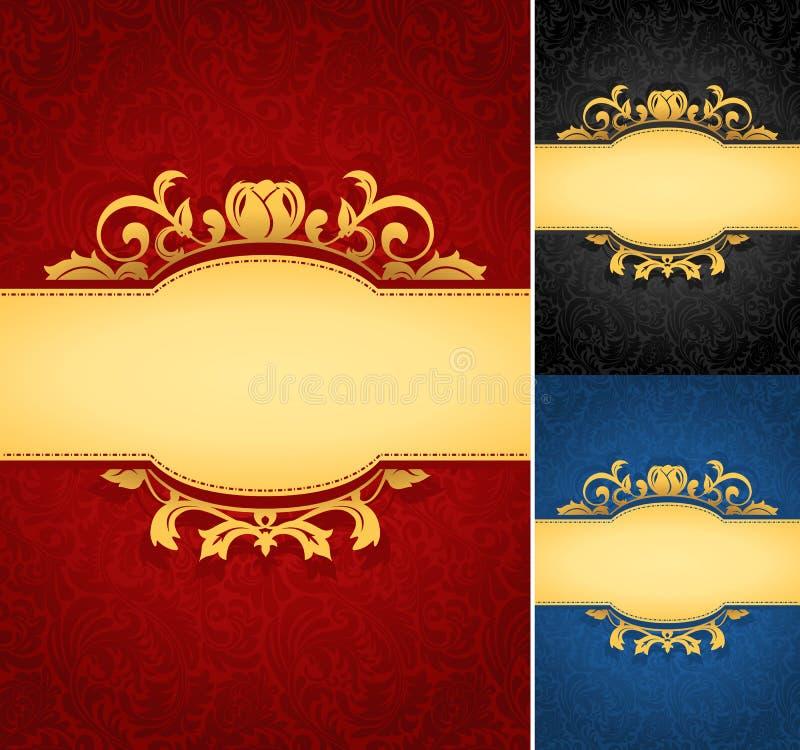 Bannière d'or élégante de cadre avec le fond fleuri de papier peint illustration libre de droits