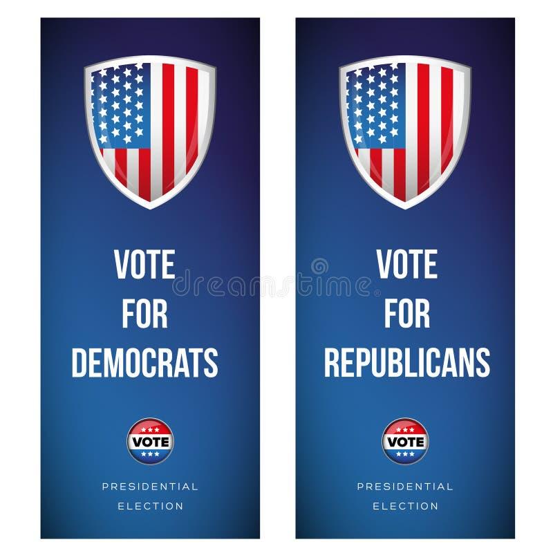 Download Bannière D'élection Réglée Avec Le Drapeau Des Etats-Unis Illustration Stock - Illustration du démocratique, élection: 77161317