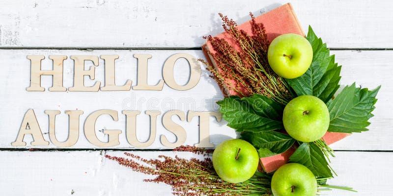 Bannière d'été : Word bonjour août, vieux livre et pommes vertes sur un fond rustique en bois blanc Configuration horizontale d'a photographie stock
